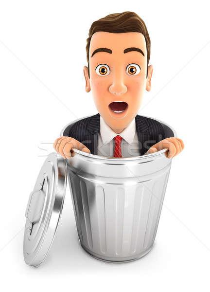 3D empresário dentro cesto de lixo ilustração isolado Foto stock © 3dmask
