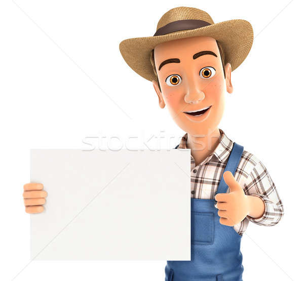 3d farmer holding placard with thumb up Stock photo © 3dmask