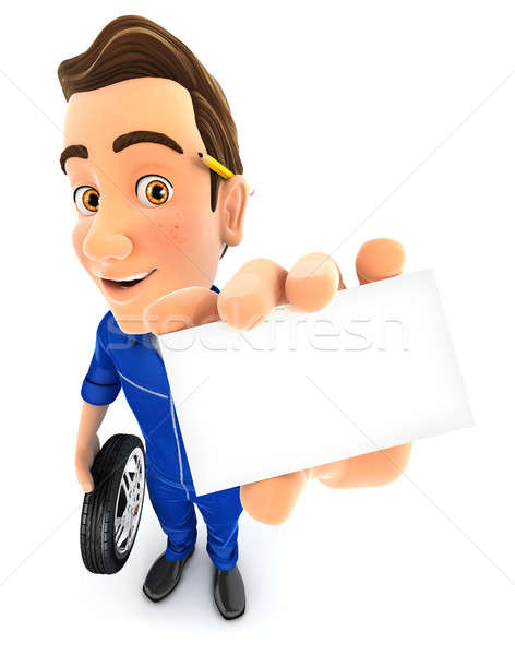 3d mechanic holding company card Stock photo © 3dmask
