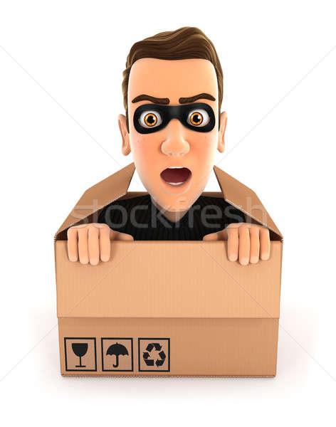 3D tolvaj rejtőzködik bent kartondoboz illusztráció Stock fotó © 3dmask