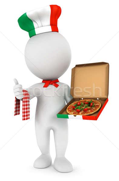 3D fehér emberek olasz pizza szakács izolált Stock fotó © 3dmask