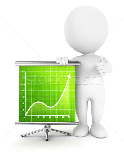 3D pessoas brancas sucesso diagrama isolado branco Foto stock © 3dmask
