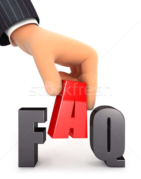 3D Hand Wort FAQ Illustration isoliert Stock foto © 3dmask