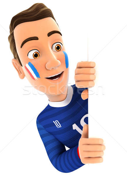 3d french soccer fan peeping over blank wall Stock photo © 3dmask