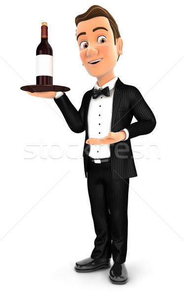 3d waiter standing with red wine bottle Stock photo © 3dmask