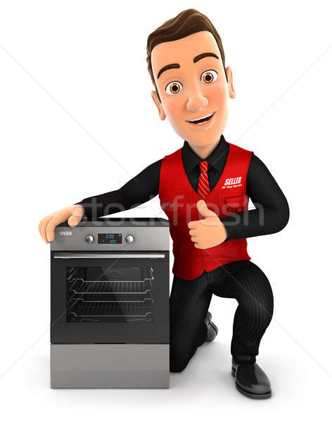3d seller with oven and thumb up Stock photo © 3dmask
