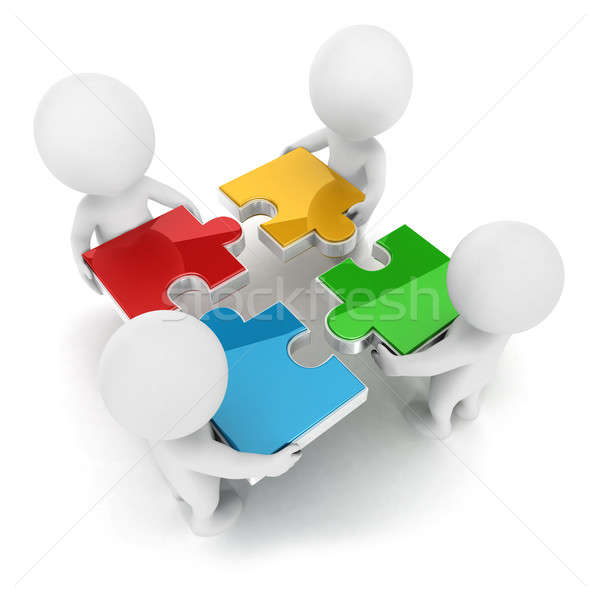 3d white people team assemble puzzle Stock photo © 3dmask