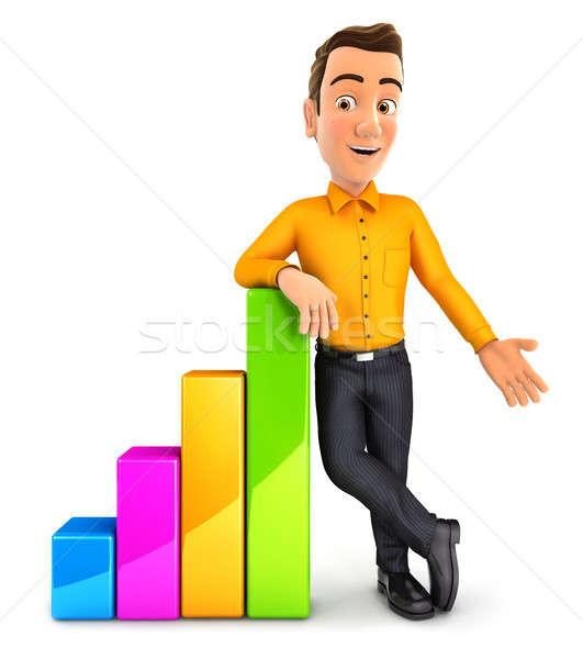 Hombre 3d gráfico de barras ilustración aislado blanco Foto stock © 3dmask