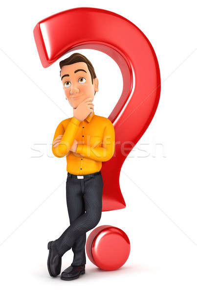 3d man leaning back against question mark Stock photo © 3dmask