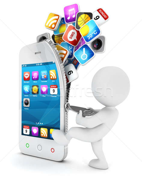 3d white people opens a smartphone Stock photo © 3dmask