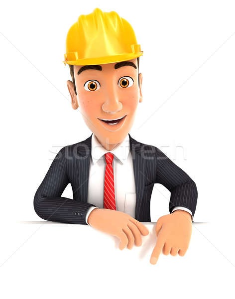 3d foreman pointing to empty wall Stock photo © 3dmask