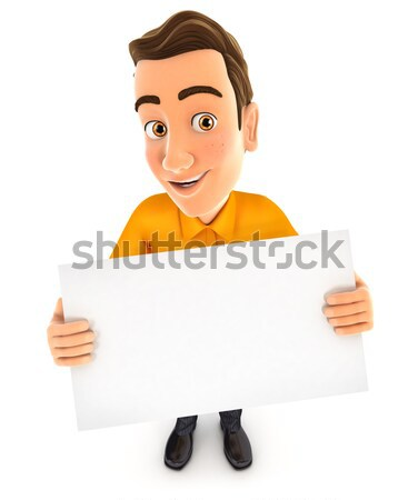 3d man billboard illustratie geïsoleerd witte Stockfoto © 3dmask