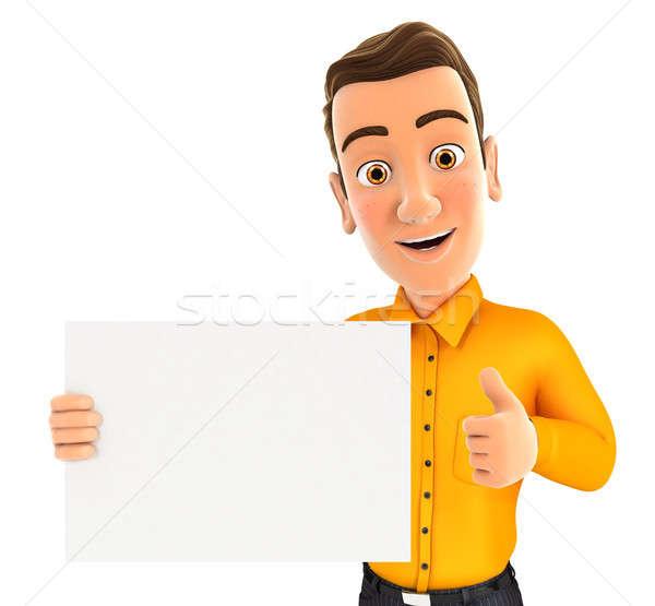 3d ember tart plakát hüvelykujj felfelé illusztráció Stock fotó © 3dmask