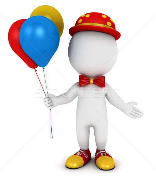 3D pessoas brancas palhaço balões isolado branco Foto stock © 3dmask