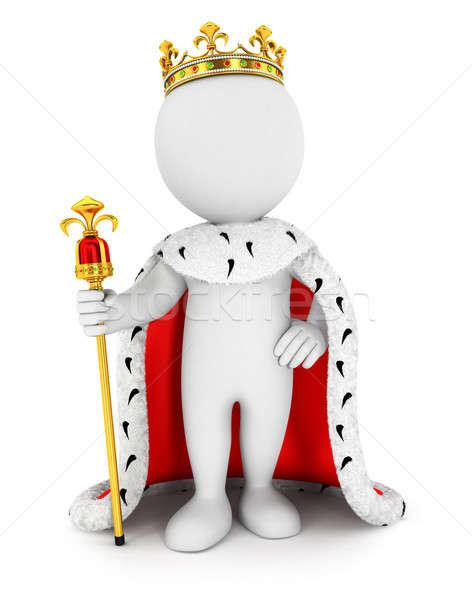 3D pessoas brancas rei isolado branco imagem Foto stock © 3dmask