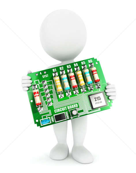3D i bianchi elettronica circuito isolato bianco Foto d'archivio © 3dmask