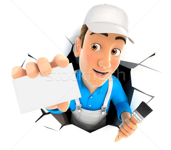 3d painter coming out through a wall with company card Stock photo © 3dmask