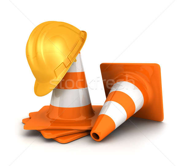 3d traffic cones and a safety helmet Stock photo © 3dmask