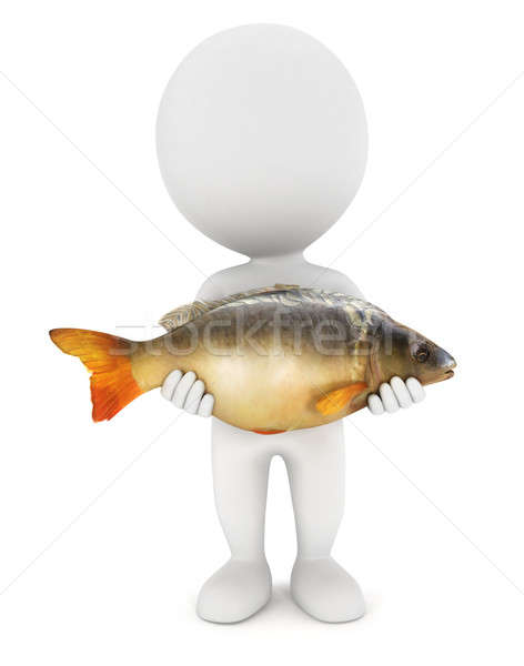 3d white people caught a carp fish Stock photo © 3dmask