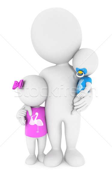 3D fehér emberek gyerekek izolált fehér kép Stock fotó © 3dmask
