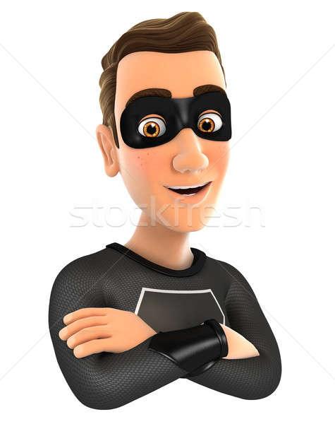 3D fekete hős keresztbe tett kar illusztráció izolált Stock fotó © 3dmask