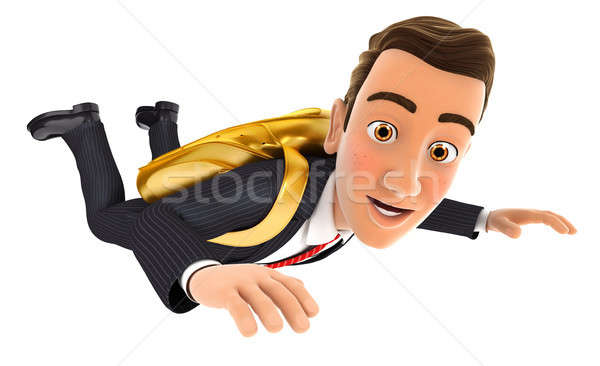 3D zakenman gouden parachute illustratie geïsoleerd Stockfoto © 3dmask