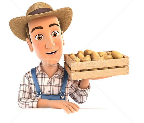 3d farmer holding wooden crate of potatoes Stock photo © 3dmask