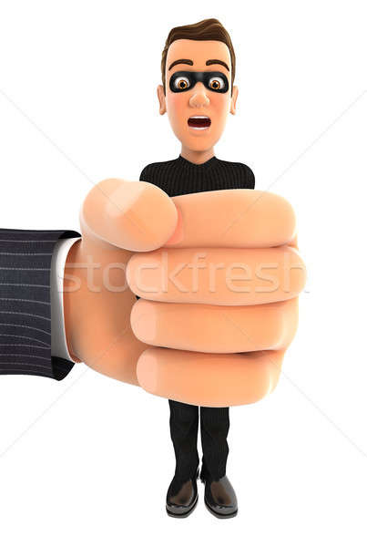 3d big hand squeezing thief Stock photo © 3dmask