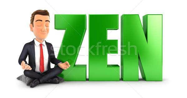 3D işadamı meditasyon kelime zen örnek Stok fotoğraf © 3dmask