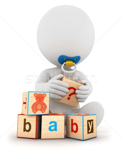 Stockfoto: 3D · witte · mensen · baby · spelen · blokken · geïsoleerd