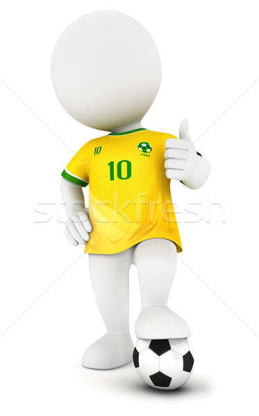 3d white people soccer player with yellow jersey Stock photo © 3dmask