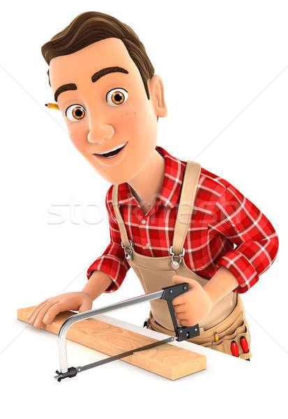 3d handyman sawing wooden plank Stock photo © 3dmask