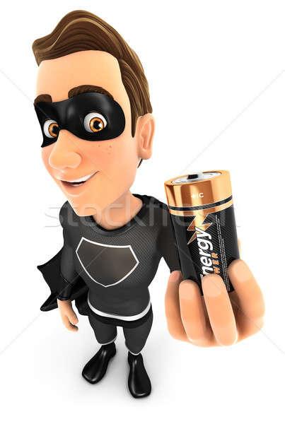3D preto herói bateria ilustração Foto stock © 3dmask