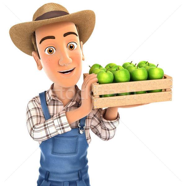 3D gazda tart láda almák illusztráció Stock fotó © 3dmask