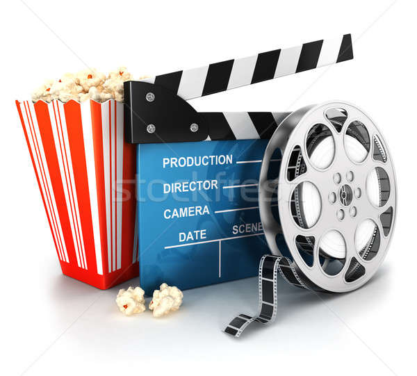 3d cinema clapper, film reel and popcorn Stock photo © 3dmask