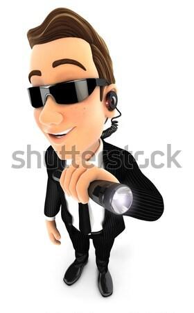 3D sécurité agent lampe de poche illustration Photo stock © 3dmask