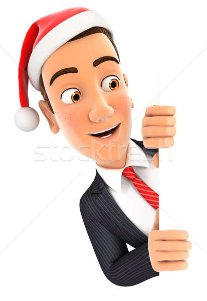 3d businessman with christmas hat peeping over wall Stock photo © 3dmask
