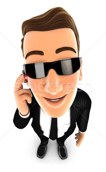 3d security agent standing and looking up at camera Stock photo © 3dmask
