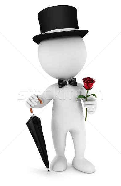 3D beyaz insanlar beyefendi şemsiye şapka Stok fotoğraf © 3dmask