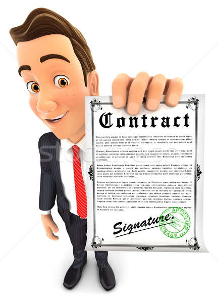 3d businessman holding signed contract Stock photo © 3dmask