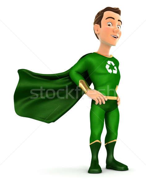 3D verde herói em pé vento ilustração Foto stock © 3dmask