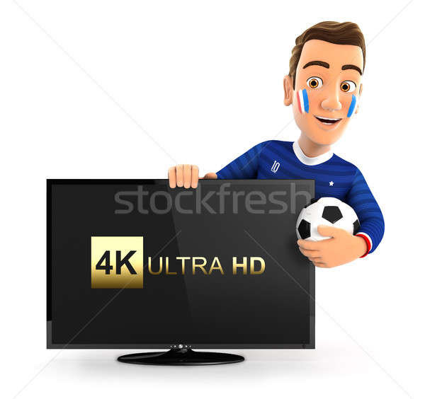 3d french soccer fan with 4K ultra HD television Stock photo © 3dmask