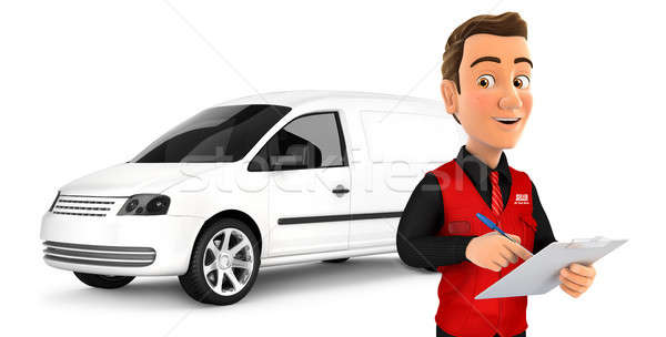 3d seller with notepad in front of car Stock photo © 3dmask