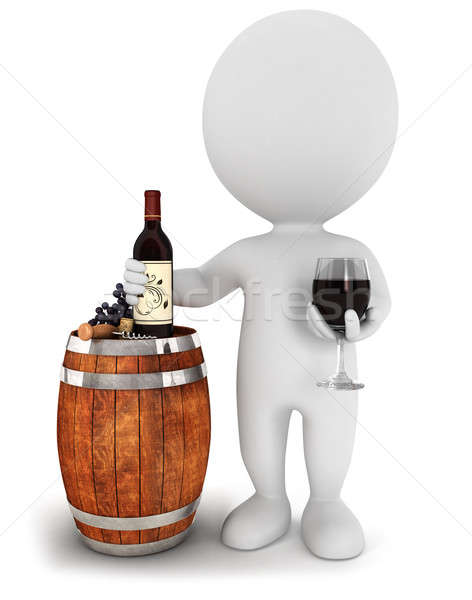 3d white people wine tasting Stock photo © 3dmask
