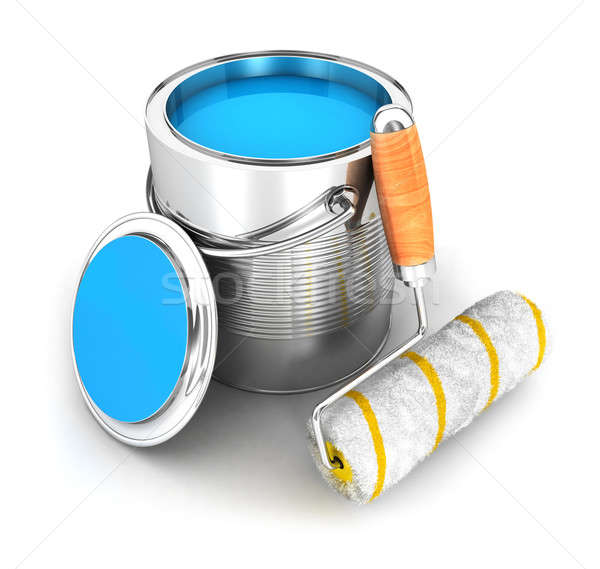 3d paint can and a roller brush Stock photo © 3dmask