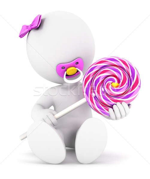 3d white people baby girl and a lollipop Stock photo © 3dmask