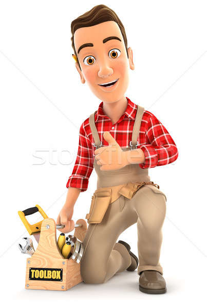 3d handyman with toolbox and thumb up Stock photo © 3dmask
