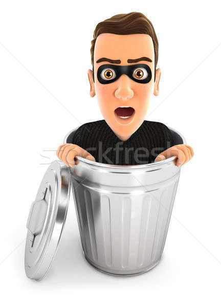 3d thief inside trash can Stock photo © 3dmask