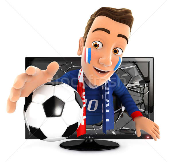 3d french soccer fan coming out of television Stock photo © 3dmask