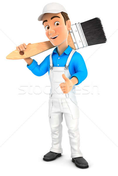 3d painter carrying paint brush on shoulder Stock photo © 3dmask